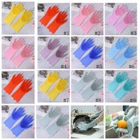 Wholesale clean beds online - Magic Silicone gloves Cleaning Brush Silicone Glove Eco Friendly Scrubber Washing Multipurpose Glove Kitchen Bed Bathroom car Tool GGA1378
