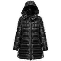 ingrosso giacche invernali-M 2019 Womens Large Size New Long Thick A-line Down Jackets Winter Warm Thick Hoodie White Goose Casual Hooede Down Jacket