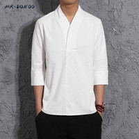 ingrosso camicia a maniche corte in cotone di lino-MRDONOO T-shirt da uomo a tre quarti in cotone da uomo, stile cinese, retro mezza manica in cotone a maniche corte