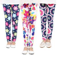 envío impreso pantalones de yoga al por mayor-27 Estilos Niñas Pantalones Primavera Floral Leggings Impresos Niños Niñas Pantalones de Yoga Niños Pantalones Flacos Elásticos de Dibujos Animados Medias Suaves América Envío Gratis