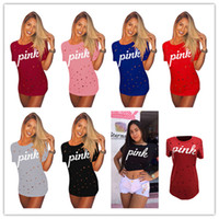 Wholesale tight long sleeved dresses - 2018 Love Pink T shirts With Hole pink letter Tops Dress tight skirts Hollow Out Cotton T shirt Casual Tee women clothes short dresses best
