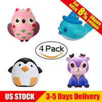 Wholesale owl toys - Squishy Collection 4pcs Slow Rising Bread Scented Squishies Owl Penguine Deer Cute Cartoon Animals Kawaii Squishy Toys