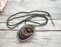 cadena de madera de buda al por mayor-4 piezas Collar de cadenas de cuentas de hematita, madera Maitreya Buddha Head Colgante Joyas collares Para mujeres NK303