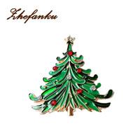 Wholesale Crystal Lucky Tree - Merry Christmas Lucky Hot Christmas Tree Crystal Brooches Pins Fashion Jewelry Enamel Metal Brooch