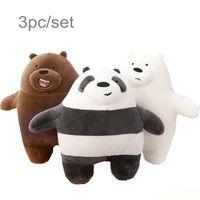 doldurulmuş aşk bebekleri toptan satış-3 adet / grup 27 cm Kawaii Peluş Oyuncak Karikatür Ayı Dolması Grizzly Gri Beyaz Ayı Panda Bebek Çocuk Aşk Doğum Günü Hediyesi