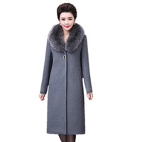 Wholesale brand trench wool resale online - 2017 Brand high quality mother Design Winter Coat Women Warm Cotton padded Wool Coat Fashion Long Trench Female Outerwear Jacket