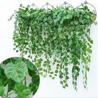 yapay asılı sarmaşık toptan satış-Yapay Ivy Flower Garland Vine Fake Ev Bahçe Dekor Için Scindapsus Asılı Bitkiler Dekor 4 adet / grup