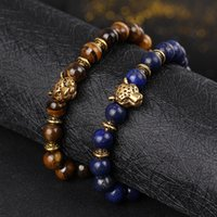 Wholesale buddha head charms resale online - RUIMO Gold Leopard Head Tiger Eye Bead Buddha Bracelet For Men Women Fashion Male Punk Jewelry Bracelets Bangle Unisex