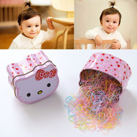 Wholesale disposable packing box for sale - 700PCS Gift Box Packed Disposable Baby Girls Candy Colors Ring Elastic Hair Bands Ponytail Holder Kids Headwear Hair Accessories
