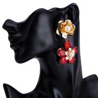 Wholesale earrings vintage flower drop - Flower drop Earrings for women fashion Luxury boho personality Multilayer Dangle earrings Vintage geometric Rhinestones Jewelry wholesale