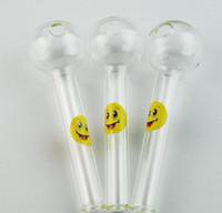 manos libres divertidas al por mayor-Logotipo de la sonrisa Pyrex Glass Pipe Oil Burner Tubo de la cuchara de vidrio Funny Hand Pipes Tubos de fumar de vidrio Envío gratuito Smoking Tool SW15
