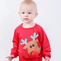 ingrosso maglioni neonato neonato-Baby Christmas maglione pullover renna peluche naso alce stampato neonato designer vestiti abbigliamento autunno inverno cappotto per bambini boutique top t