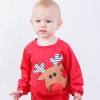 Wholesale red pullover tees online – oversize Baby Christmas Sweater Pullover Reindeer Plush Nose Elk Printed Newborn Boy Designer Clothes Autumn Winter Coat Kids Boutique Tops Tees