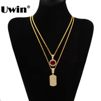 Wholesale Cuban Link Gold Chains Wholesale - whole saleMen Full Iced Out Cz Gold Silver Filled Square Dog Tag Pendant Necklace And Mini RoundRhinestone Necklace Set Hiphop Cuban Chain