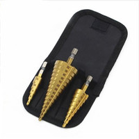 Wholesale hss metric - 3Pcs lot Metric Spiral Flute Step HSS Steel 4241 Cone Titanium Coated Drill Bits Tools Set Hole Cutter 4-12 20 32mm+Pouch