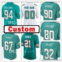 Wholesale Mario Customs - Custom Miami 94 Mario Williams 32 Kenyan Drake Dolphin Jersey 67 Laremy Tunsil 21 Brent Grimes 80 Anthony Fasano 90 Charles Harris Jerseys