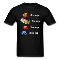 tapas de botellas de dibujos animados al por mayor-Cartoon Bottle Caps Fever Fun T-shirt Custom Group Top Black Tee O-cuello de algodón Hombre Ropa de manga corta para 2018