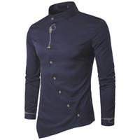 mandalina gömlek erkek toptan satış-2019 Moda Erkek Gömlek Marka Kişilik Eğik Düğme Mandarin Yaka Erkekler Smokin Uzun Kollu Gömlek Erkekler Için Büyük Boy 2XL