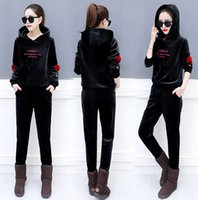 cf540376cad Wholesale velour tracksuit brown for sale - Women Velour Clothing Sets  Spring Autumn Sports Tracksuits Casual