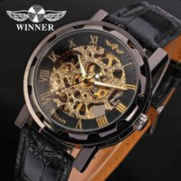 Discount winner watch classic - WINNER Men Women Watch Hand Wind Mechanical Mens Lady Watches Top Brand Luxury Classic Leather Band Skeleton Male Clock New 0071