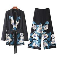 Wholesale medium length coats - New european fashion women's print flower sashes medium long blazer coat and loose wide leg long pants twinset 2 pieces suit