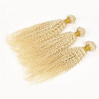sarışın brezilya saç satışı toptan satış-Kinky Kıvırcık Sarışın Bakire Saç 3 Adet / grup Kinky Kıvırcık Sarışın Saç Brezilyalı Virgin İnsan Saç Uzatma Sıcak Satış Ucuz Fiyat