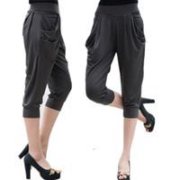 Wholesale stretch silk pants for sale - Large Size Xl XL Calf Length Pants Summer Womens Soft Milk Silk Stretch Pants Plus Size Harem Trousers Capri Female