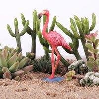 гаражные наборы моделей оптовых-Изысканный фламинго модель игрушки гараж комплект украсить игрушки торт украшение моделирование безделушка статический состояние сад животных модели статья 5 5zx ii