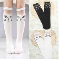 calcetines altos de gato al por mayor-BalleenShiny Cute Cartoon Calcetín de los niños del gato encantador para los bebés niñas calcetines de la rodilla Animal Print Over Long Knee Socks