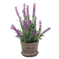 Wholesale real touch flower arrangement - Artificial Flowers Plastic Lavender Arrangements in Pots in Real Touch for Home Garden Party Decor