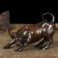 Wholesale wealth statue for sale - Group buy Pure Copper Cattle Shape Ornament Trumpet Home Furnishing Decor Art Retro Bull Statue Crafts Creative Business Gift gy jj