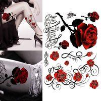 ingrosso gambe tatuate rosa-Shellhard 3D Rose Tattoo Sticker Impermeabile Sexy Women Temporary Big Rose Tattoo adesivi per Body Art gambe del braccio 21,5 centimetri x 15,5 centimetri