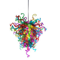 Hand Blown Glass Chihuly Multi Colored Glass Chandelier For
