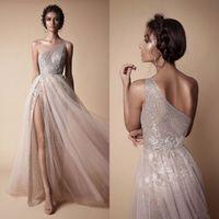 Wholesale Lace One Shoulder Side Slit - Berta 2018 New High Side Split Sequined Wedding Dresses Bohemian One Shoulder Lace Appliqued Bridal Gowns vestido de novia