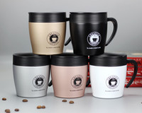 Wholesale 12oz Coffee Cups Stainless Steel Vacuum Insulated Coffee Mugs with lid handle handgrip Spoon Office Coffee Cups Gift colors