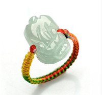 Wholesale thin ring china resale online - Certified Grade A Green Jadeite Jade Ring Beads RED String Hand carved PIXIU