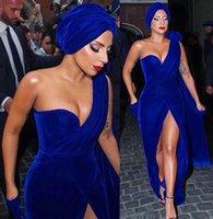 ingrosso usura convenzionale di sera delle signore-2019 Lady Gaga Red Carpet Abito da sera Royal Blue Velvet Long Formal Holiday Celebrity Wear Prom Party Gown Custom Made Plus Size