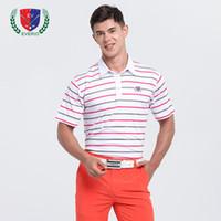 camisas de golf de diseño al por mayor-Hombres Camisas de golf Diseño a rayas manga corta jersey de golf de golf appreal verano ropa deportiva Ropa de Polo camisetas tops