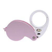Wholesale Magnifying Glass Illuminated - 40X Portable Folding Magnifier Loupe Illuminated Magnifier Magnifying Glass Jewelry Coins Stamps Antiques