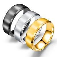 ingrosso anelli neri opachi-Anelli in acciaio inossidabile Anello da uomo 8mm in argento nero con anelli a fascia in oro con finitura opaca per uomo fai-da-te all'ingrosso regalo all'ingrosso