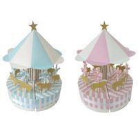 boites de fées achat en gros de-En gros carrousel cadeau boîte bébé douche faveurs boîte de bonbons créatif européen fée mariage boîte de bonbons Event party supplies
