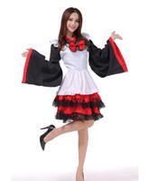 ingrosso vestito dal costume del giapponese-Shanghai Story Black Red Japan Kimono Costumi Cosplay Vestito da Lolita da Halloween