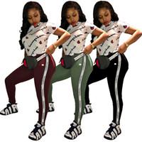 Wholesale clear yoga pants for sale - 2018 Womens Tracksuit Fashion Crop Top and Long Pants Piece Set Female Cotton Casual Pants Suits Set Summer Outfits
