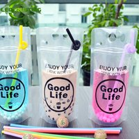 Wholesale Juice Packaging Wholesale - 1000pcs 450-500ml Clear Plastic Drinking Packaging Pouch Beverage Juice Coffee Bag Good Life Summer Beverage Pouches