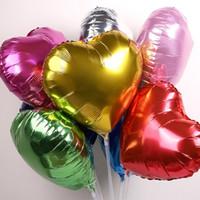 ingrosso palloncini di cuore verde-50pcs 18 pollici cuore stagnola palloncino a elio rosa rosso blu verde viola oro argento anniversario palloncino decorativo Scegli Color5