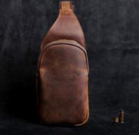 Wholesale messenger bags men brown resale online - High quality handmade fashion men sling bag cross body messenger bags colors outdoor women waist bag pack chest bag