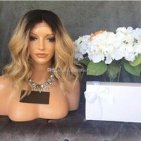Wholesale Wig Cosplay Blonde - Cosplay Blonde Ombre Wigs 1B 27# Short Bob Curly Wavy Lace Front Wig Heat Resistant Synthetic Lace Front Wigs for Black Women