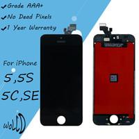 iphone 5g de la pantalla táctil del reemplazo al por mayor-Reemplazo de pantalla para iPhone 5G 5S 5C SE Pantalla táctil LCD con piezas de reparación de ensamblaje de digitalizador de marco negro blanco