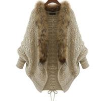 belles cardigans femmes achat en gros de-Automne Hiver Cardigans Tricoté Manteau Femmes Mode À Manches Longues Batwing Poncho Chandail Belle Femmes Crochet Cardigan BM003