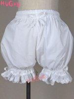 weiße baumwollschlüpfer großhandel-Mädchen Weiß süß Loilita Bloomers Schüler Knickers Spitze-Ordnungs-Shorts Schleifenband elastisch Baumwolle